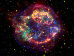 Death of a star in the sky: A supernova exploded in Cassiopeia in 1680. The image shows the expanding gas envelope.