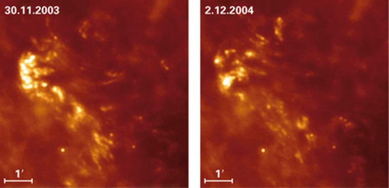 Bilder von einer der beiden bogenförmigen Wolken, aufgenommen bei 24µm Wellenlänge mit SPITZER im Abstand von einem Jahr. Die morphologischen Verände