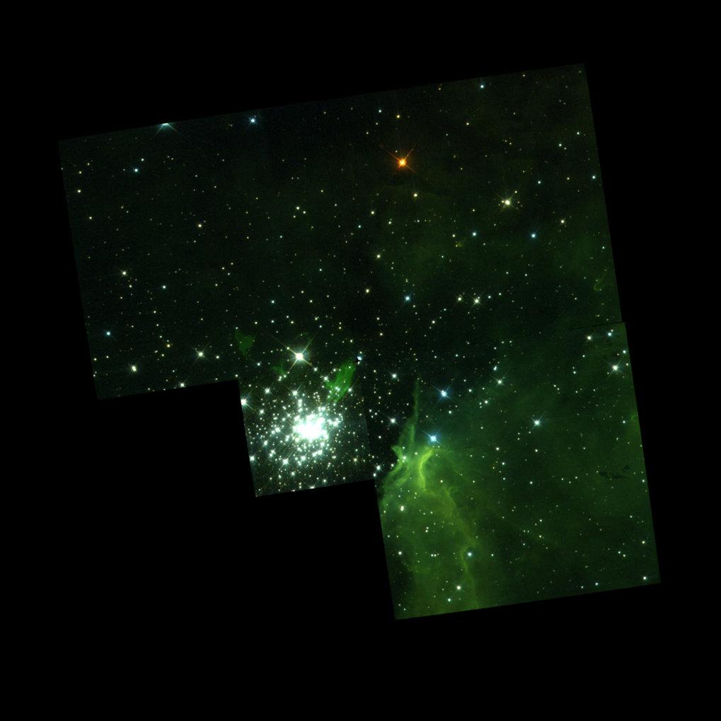 Teilansicht des gigantischen, selbst leuchtenden Emissionsnebels NGC 3603 mit seinem zentralen, nur eine Million Jahre alten kompakten Sternhaufen. Di