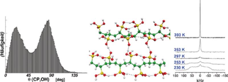 Bespiel einer lokalen atomistischen Konformation des Polyvinyl-Phosphonsäure-Polymers (Mitte), die aus einer Car-Parrinello-Molekulardynamiksimulation