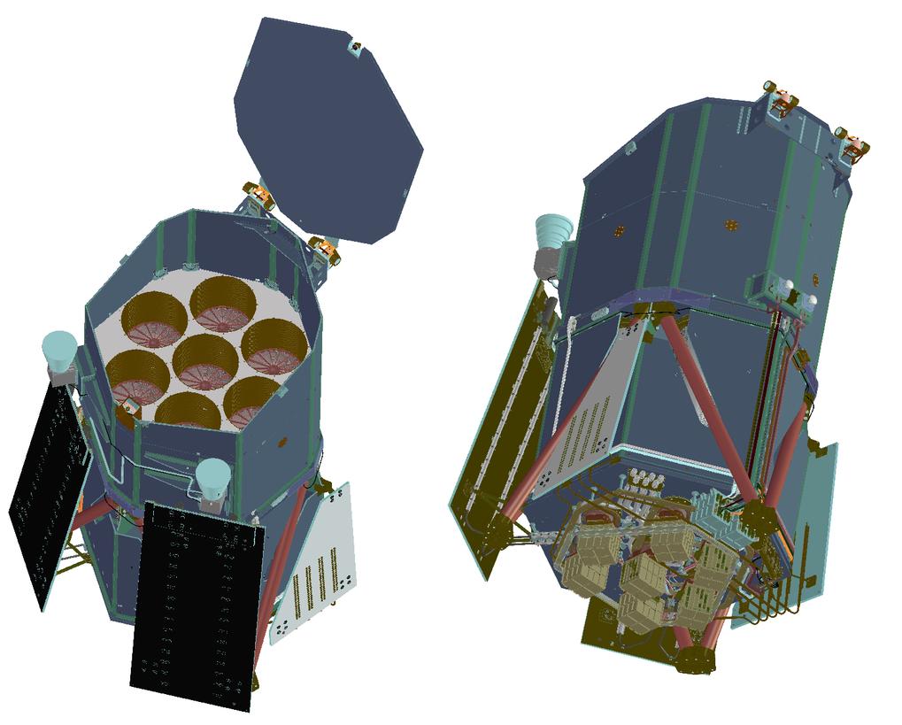 <strong>Abb. 2:</strong> Schematische Ansichten von eROSITA mit Blick auf die sieben Spiegelteleskope (links) und die sieben Kameras inkl. ihrer Elekt