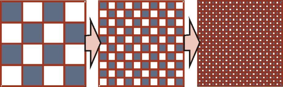 <b>Abb. 4</b>: Übergang von polykristallinen Materialien zu amorphen Materialien durch sukzessive Korngrößenreduktion.