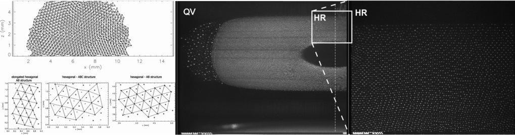 Plasmakristalle: Linke kleine Grafik: erste Beobachtung von 3D Plasmakristallen in PKE-Nefedov bestehend aus unterschiedlichen Strukturen die nebenein