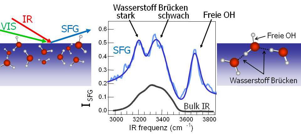 <strong>Abb. 2:</strong> Mit der Summenfrequenzschwingungsspektroskopie kann das Schwingungsspektrum der äußersten Wassermoleküle an der Grenzschicht