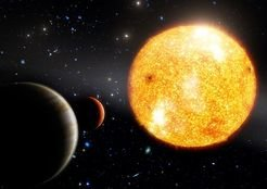 A glimpse into alien worlds: Artist's impression of HIP 11952 and its two Jupiter-like planets.