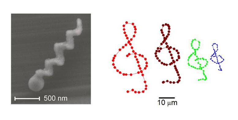 <strong>Abb. 3:</strong> Ein einzelner Glas-Nanopropeller (links). Trajektorien von Nanopropellern in Wasser, die gesteuert wurden, um einen Notenschl