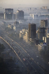 Smog: Everyday life in mega cities like Mumbai, India.