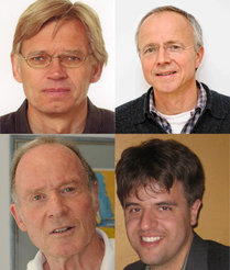 K. J. Zülch prize winners 2012: Peter Hegemann, Humboldt University Berlin (top left), Georg Nagel, University of Würzburg (top right), Ernst Bamberg, MPI of Biophysics (bottom left) and Karl Deisseroth, Stanford University (bottom right).