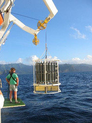 Photograph of seawater sampling during the BIOSOPE (Biogeochemistry and Optics South Pacific Experiment) cruise to the Southeast Pacific.