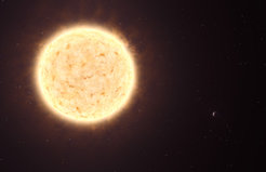 An exoplanet from another galaxy (right) and its star (left): Artist's impression of the yellowish star HIP 13044 and, on the bottom right, its planet HIP 13044 b. HIP 13044 is part of a stellar stream, a remnant of a dwarf galaxy that was swallowed by the Milky Way galaxy billions of years ago.