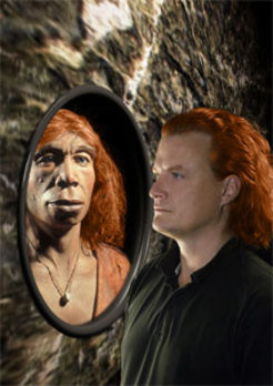 Red-haired Neanderthal vis-à-vis modern man.