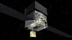 This computer graphic shows the structure of NASA's Fermi satellite. The central, box-shaped instrumentation platform lies between the solar panels. The Large Area Telescope, whose data the astronomers evaluated, is hidden beneath the black cover visible on the top.
