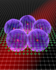 A pentagon of super atoms: The illustration depicts the densest possible ordering of five Rydberg excitations in an ensemble of rubidium atoms that are pinned in an optical lattice.