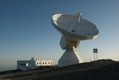 The radiotelescope used for the observations: the IRAM 30m located near Granada in Spain's Sierra Nevada
