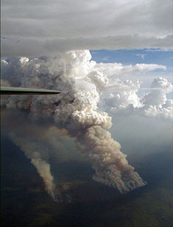 Forest fire in the southern part of the Amazon, taken in September 2002. A so-called pyro-cloud forms directly on top of the smoke plume of the fire.