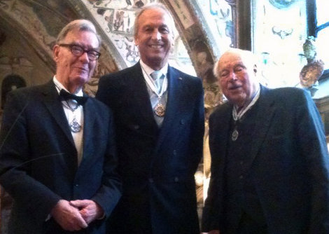 Three awardees: Peter Gruss with the immediate past presidents, Reimar Lüst (left) and Hans Zacher