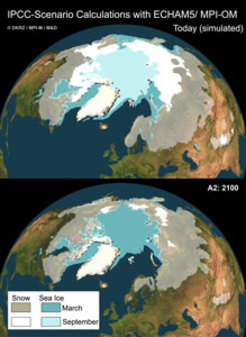 Melting of arctic sea ice as a result of global warming.