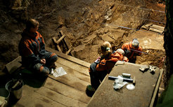 Excavation works inside the East Gallery of the Denisova cave where archaeologists found part of a finger bone in 2008