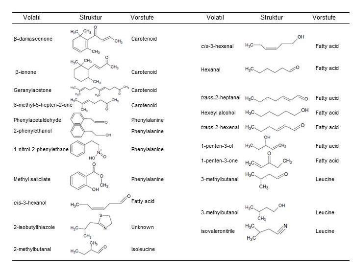 <p><strong>Tabelle 1</strong> Liste der geschmacksbeeinflussenden flüchtigen Verbindungen und ihrer Vorstufen</p>