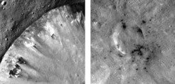Most of the dark, carbonaceous material on Vesta can be found on the rims of smaller craters (left) or scattered in their surroundings (right).