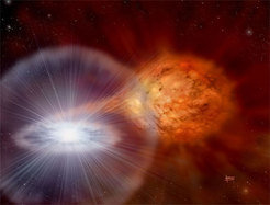 Artist's impression of the binary system RS Ophiuchi. Hydrogen-rich gas is transferred from a red giant onto the surface of a white dwarf and has just exploded there.