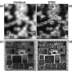 Images with resolution at and beyond the diffraction limit shown in the left and right column, respectively. Upper row: Pores in a porous membrane marked with a fluorescent dye shown with normal resolution cannot be discerned as such (a). The same imaging carried out parallel with STED microscopy clearly brings out the structure to light (b). The term confocal indicates that the reference images (a,c) were recorded in the confocal microscopy imaging mode which currently is the best resolving diffraction limited fluorescence microscopy method. Lower row: Fluorescence dye marked nanostructures produced by electron beam lithography in a polymer shown with normal resolution (c) and then using STED (d). The raw data in (c) and (d) after imaging was subjected to linear deconvolution to mathematically slightly enhance the resolution. In spite of this, the image in (c) does not show the structures, whereas the images with the STED microscope can resolve lines of 80 nm width and 40nm separation between the lines (d). Thus, the optical imaging is moving into domains that were until now reserved for the electron microscope.