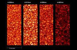 Grainy sun: the images show the so-called granulation in four different wavelengths in near ultraviolet light. The image section depicts 1/20,000 of the entire surface. The smallest recognisable structures have an angular resolution equal to that of looking at a coin from a distance of 100 kilometres. The light structures are the foundational elements of the magnetic fields.