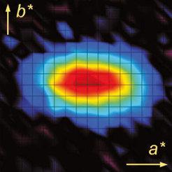 Im elektronischen Flüssigkristall erzeugen Spinanregungen dieses charakteristische längliche Neutronenbeugungsmuster.