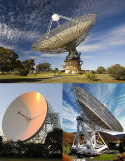 "The three radio telescopes that were used to <span id=""result_box"" class=""short_text"" lang=""en""><span class=""hps"">to discover</span><span>,</span> <span class=""hps"">to confirm</span> <span class=""hps"">or</span> <span class=""hps"">investigate</span></span> the 24 pulsars: The Parkes radio telescope of the Australian research organization CSIRO (above), the Lovell telescope at the English Jodrell Bank Observatory (bottom left) and the 100-m radio telescope in Effelsberg, part of the Max Planck Institute for Radio Astronomy."