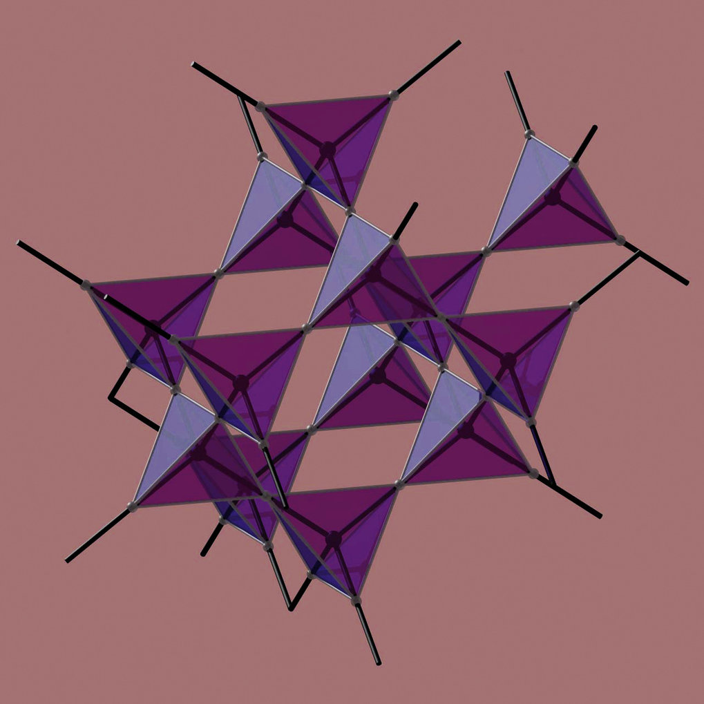 Holmium oder Dysprosium, titanium and oxygen combine to form a network of tetrahedra  which results in a spin ice.
