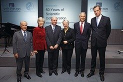 "Celebrating fifty years of scientific cooperation between the MPS and the Weizmann Institute in Berlin: The two Presidents Peter Gruss and Daniel Zajfman (3rd from left) together with the German Federal Research Minister Annette Schavan and the management of Axel Springer AG: Giuseppe Vita (left), Friede Springer and Mathias Döpfner (right).<a href=""#__target_object_not_reachable""> [less]</a>"