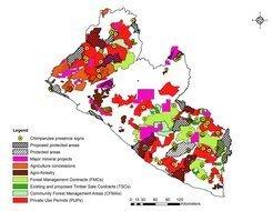 Die Karte zeigt große Bergbauprojekte, vorhandene und geplante Forstkonzessionen, geplante und bereits vorhandene Schutzgebiete sowie Informationen zum Auftreten von Schimpansen. Viele der vorgeschlagenen Schutzgebiete liegen in Gegenden, in der künftig Rohstoffe und Holz abgebaut werden sollen. 29 der 63 auf der Karte gezeigten