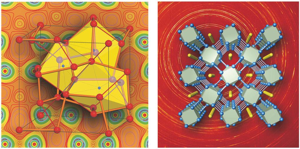 Ungewöhnliche Kristallstrukturen dichter Alkalimetalle. <b>Links:</b> Struktur von Lithium bei 40 GPa und von Natrium bei 104 GPa. Im Hintergrund ist