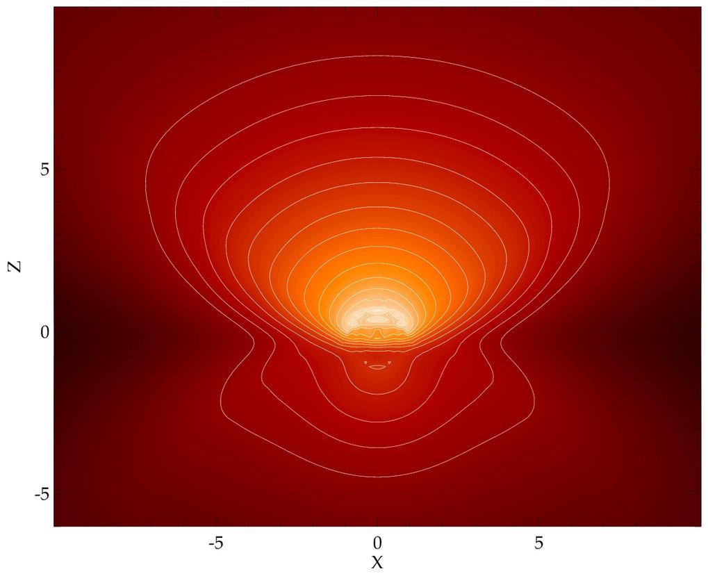 Strahlungstransport-Modellierung eines klumpigen Torus  für einen Neigungswinkel der Torusachse zur Beobachtungsrichtung von 55 Grad. Das Bild zeigt d