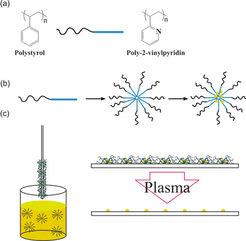 (a) Ein Zweiblockcopolymer besteht aus zwei chemisch verschiedenen Polymeren, welche kovalent an einer Stelle verbunden sind – hier Polystyrol (PS) un