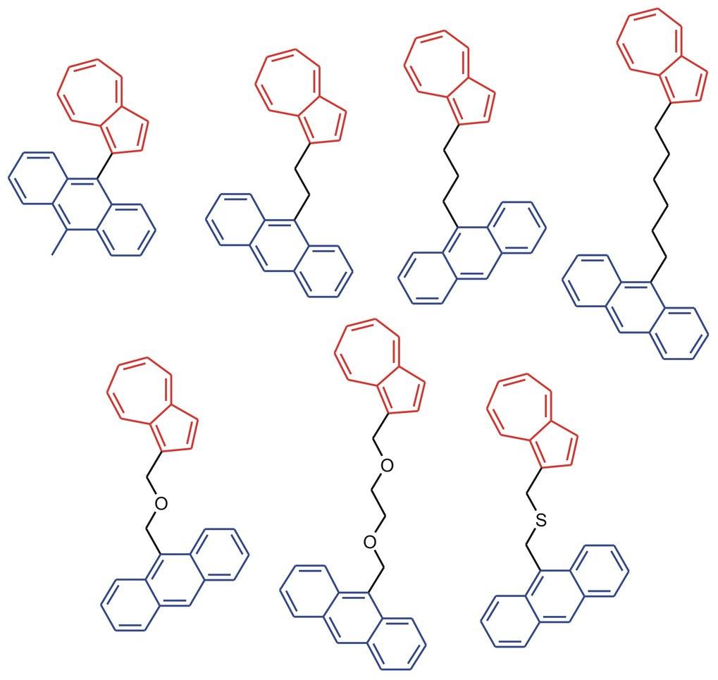 Molekülstrukturen verbrückter Azulen-Anthrazen- Verbindungen. Im Experiment wird der Azulenteil (rot) mit einem kurzen Laserpuls auf eine Schwingungst
