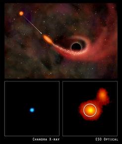 """Das """"Nachglühen"""" des Strahlungsblitzes (blau), aufgenommen mit dem Röntgenobservatorium Chandra (links). Der Flare entstammt dem Zentrum der"""