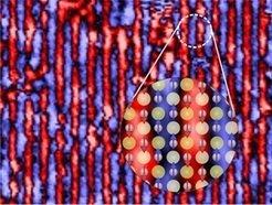 <p>Magnetische Ordnung von Eisentellurid, abgebildet mit einem Tieftemperatur-Rastertunnelmikroskop. Der vergrößerte Abschnitt zeigt die at