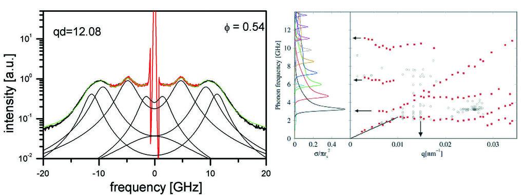 Links: Brillouin-Spektrum für eine polykristalline kolloidale Suspension von PMMA-Kugeln (d=370 nm) bei einem Wellenvektor q=0,0326 nm<sup>-1</sup> (b