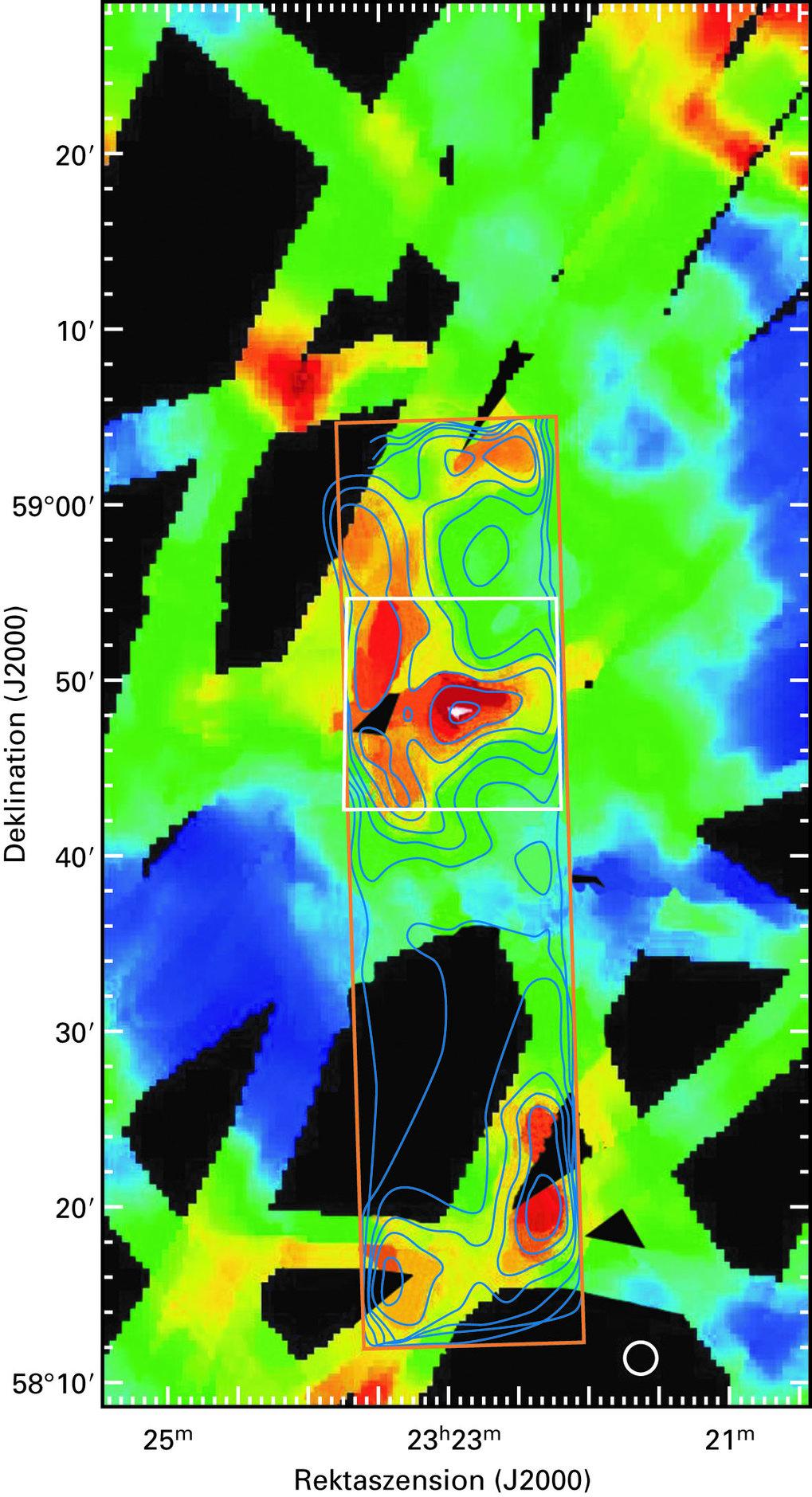 Die Umgebung von Cas A, gesehen in der ISOPHOT-Zufallsdurchmusterung bei einer Wellenlänge von 170 µm. Hier ist die Emission sehr kalten Staubes zu er