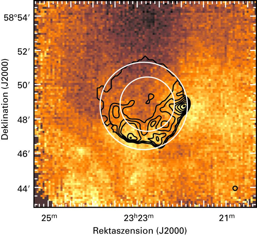 Verteilung von OH-Gas in der unmittelbaren Umgebung von Cas A. Der gezeigte Bereich entspricht dem weißen Rechteck in Abbildung 1. Da die OH-Wolke in