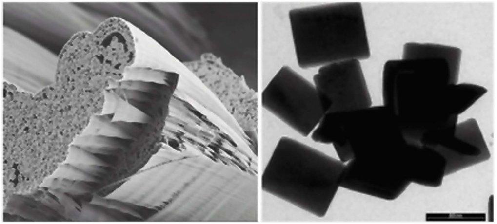 Links: Rasterelektronenmikroskopaufnahme von Überstrukturen von Bariumsulfat-Fasern, hergestellt durch Mischen von wässrigen Bariumchlorid- und Natriu