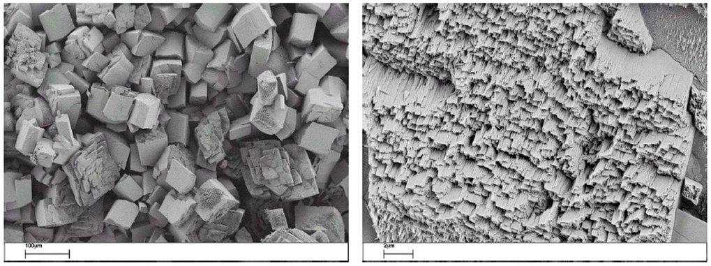 Links: D, L-Alanin-Mesokristalle, die in Gegenwart eines strukturdirigierenden DHBC hergestellt wurden. Die Kristalle erscheinen facettiert wie Einkri