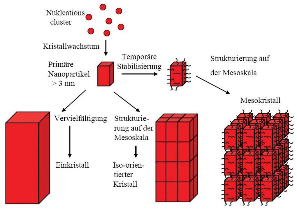 Klassische (links) und nichtklassische (Mitte, rechts) Modelle der Kristallisation. Links: Klassisches Kristallwachstum, Mitte: Kristallwachstum über