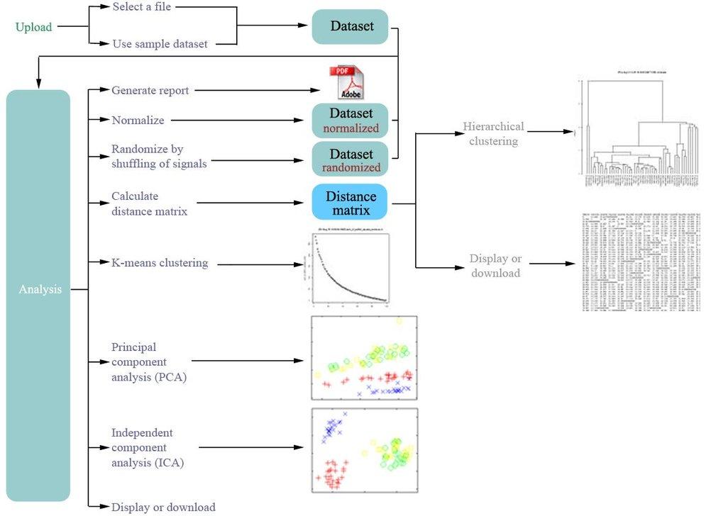 Illustration des Softwaresystems MetaGeneAlyse zur Normalisierung, Dimensionsreduktion, Clusterung und Visualisierung von Daten (vergleiche http://met