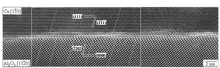 Atomare Struktur der Grenzfläche zwischen α-Al<sub>2</sub>O<sub>3</sub> und Cu. α-Al<sub>2</sub>O<sub>3</sub> ist durch Sauerstoffionen terminiert. Di