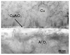 Grenzfläche zwischen Cu und α-Al<sub>2</sub>O<sub>3</sub>. Konventionelle transmissionselektronenmikroskopische Aufnahme. Die Probe wurde für 96 h bei