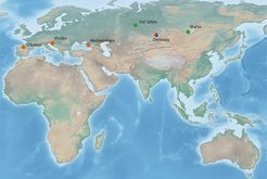 Map of Pleistocene fossils with published nuclear DNA (orange: Neandertals, blue: Denisovans, green: modern humans).