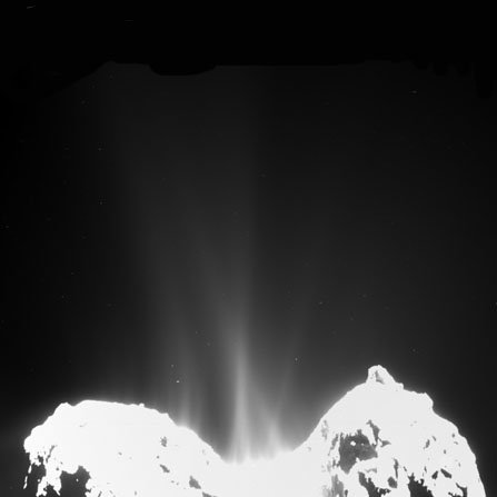 A comet spews dust