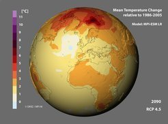 Forecasts without systematic errors: climate models, such as the model MPI - ESM LR of the Max Planck Institute for Meteorology, predict a significant increase in temperature by the end of this century, especially at the Earth's poles. No model, however, has predicted the global warming hiatus which climate researchers have observed since the turn of the millennium. This, however, is not due to systematic errors of the models, but to random fluctuations in the climate system. The model predictions are therefore reliable, taking some statistical uncertainty into account.  <br />